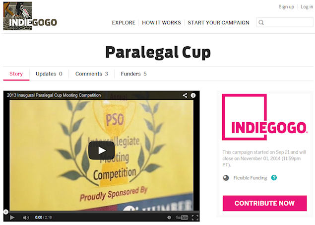 The Paralegal Cup Campaign on IndieGoGo